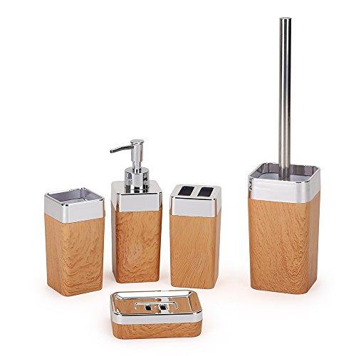 Kunststoff Badezimmer Zubehör 5 PCS Bad Accessoire Set Badgarnitur Klobürste Seifenspender Zahnputzbecher Seifenschale