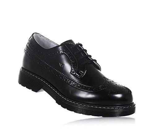 NERO GIARDINI - Chaussure à l'anglaise à lacets noire en cuir, made in Italy, avec motif perforé, Fille, Filles