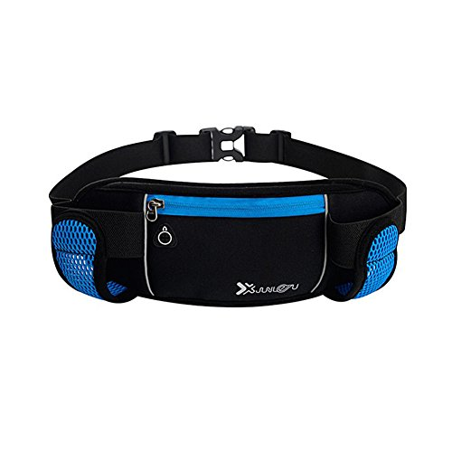 Reefa Laufband Multifunktionale Reißverschlusstaschen Wasserdichte Taille Tasche mit 2 Wasserflaschen Taillenpaket zum Laufen Wandern Radfahren Klettern Himmelblau