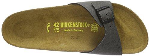 Birkenstock - Madrid Birko-flor, Pantofole Donna Grigio (Grau (PULL UP Anthracite))