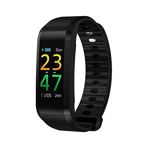 Lemumu Schickes Armband Herzfrequenzmesser Schrittzähler Übung Anruf aufzeichnen Erinnerung Blutdruckmessung Schrittzähler schlafen Tracker finden Sie meine, Schwarz (Microsoft-übung Band)