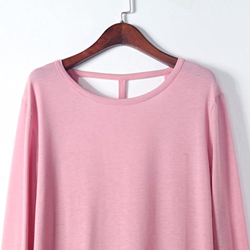 AmazingDays Chemisiers T-Shirts Tops Sweats Blouses,Femme Manches Longues Manche Ronde Col Rond sans Dos Chemisier Casual Tops pink