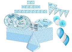Idea Regalo - IRPot - Kit N 46 Battesimo Fiocco Celeste ADDOBBI Festa Coordinato Evento Party