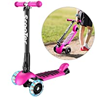 Banne Youth 1 3 Height Adjustable Foldable Smooth Riding Lean to Steer Kick Scooter with Flashing PU Wheel Supports 176 lb Weight(Rose Red), 1