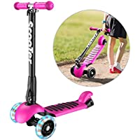 Banne Unisex-Youth 1 3 Height Adjustable Foldable Smooth Riding Lean to Steer Kick Scooter With Flashing PU Wheel Supports 176 lb Weight(Rose Red), 1