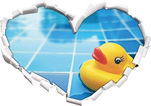 Squeaker anatra a forma di cuore bagno nel formato sguardo, parete o adesivo porta 3D: 92x64.5cm, autoadesivi della parete, decalcomanie della parete, Wanddekoratio