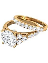 Anillo de compromiso con racimo de moissanita certificado solitario de 3,29 quilates, grabado en oro, anillo de promesa de eternidad, anillo vintage trilogía, 18K Oro amarillo, Size:EU 51