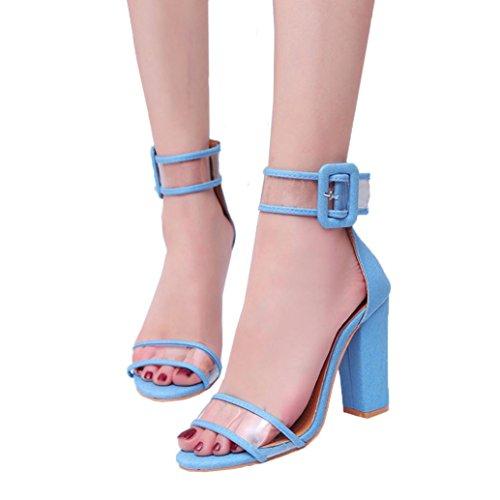 ღ uomogo elegante e fibbia in grassetto con punta scanalata high-heel donne sandali toe sandali, royal 10.5-cm