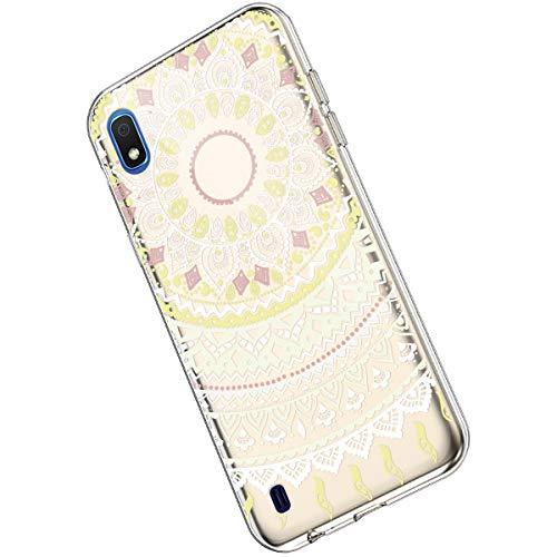 Ukayfe Compatible con Samsung Galaxy A10 Custodia,Trasparente Silicone con Disegni Fiore di Mandala Motivo Ultra Sottile Morbida Silicone Gel Clear TPU Cover Case per Galaxy A10- Mandala#3