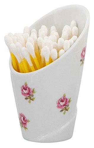 Watte-Stäbchen Spender Q-Tip, Rose vom Tegernsee, Porzellan weiß mit kleinen Rosen im Dekor, Kosmetex Wattestäbchen-box, Q-Tips-Spender -