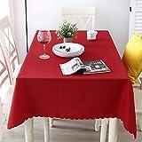 Nclon Volltonfarbe Polyester Tischdecke Tischtuch tischwäsche, Ideal für Buffet-Tisch, Auf Hochzeiten oder, Weihnachtsessen, In Ihrem Zuhause, Bankett-danksagung-Rot-A Durchmesser 160cm