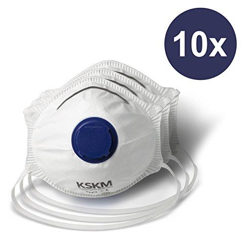 KSKM Atemschutzmasken 10er Set - Premium Staubschutzmasken Schutzklasse FFP2 - individuell anpassbar - mit Filterventil
