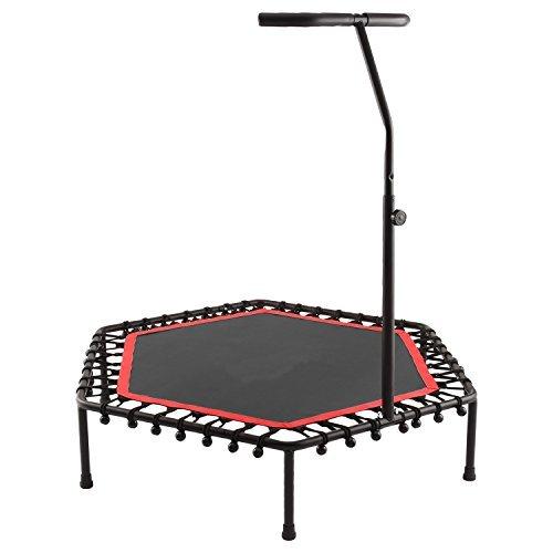 Tomasa Fitness Sport Trampolin 13 x 128 x 26cm Jumping Trampolin draußen gartentrampolin mit verstellbarem Lenker 115-145cm (Rot)
