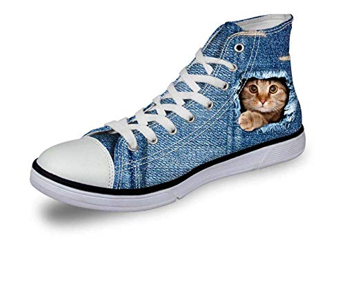 Blue Jane Cat Dog Women Girls Fashion High Top Canvas Trainers Plimsolls Shoes pattern4 C3304AK EU 36