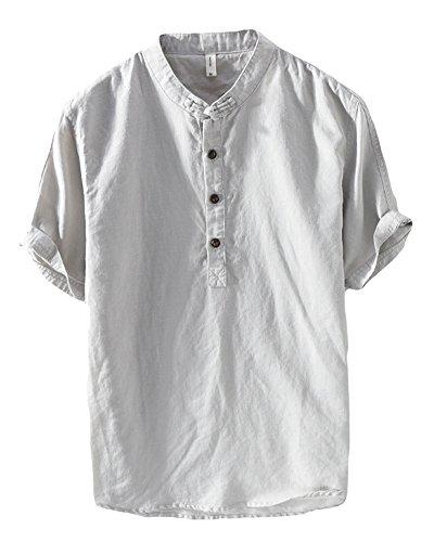 Uomo camicia in lino senza collo casual leggero camicia maniche corte pullover grigio m