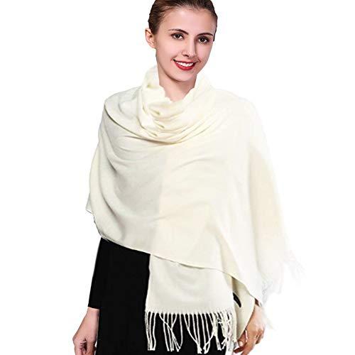 Ieverest imitazione di cashmerere sciarpa super morbido colore solido sciarpa per uomini e donne inverno caldo grande sciarpa di spessore avvolge scialle lungo sciarpe 200 * 70cm 2018 nuovo(panna)