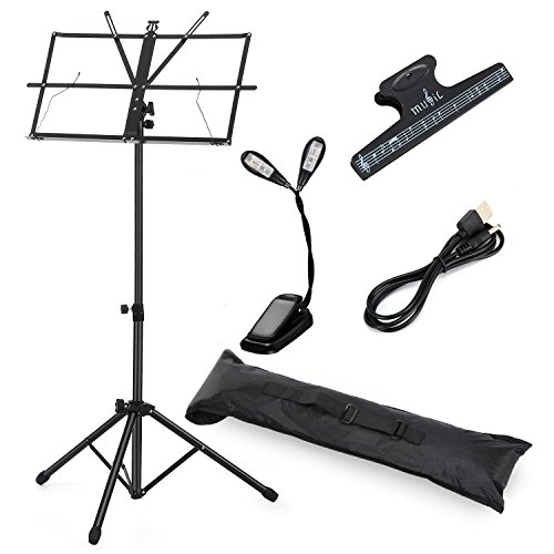 Moukey mms-1 leggio musicale pieghevole ruotabile ed altezza regolabile con clip, lampadina e custodia per trasporto
