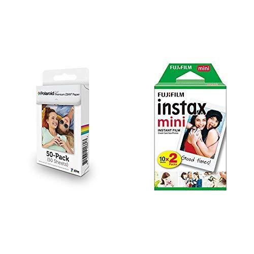Polaroid 2x3 Zoll Premium ZINK Fotopapier Kompatibel & Fujifilm Instax Mini Instant Film, Weiß, Doppelpackung Polaroid Square