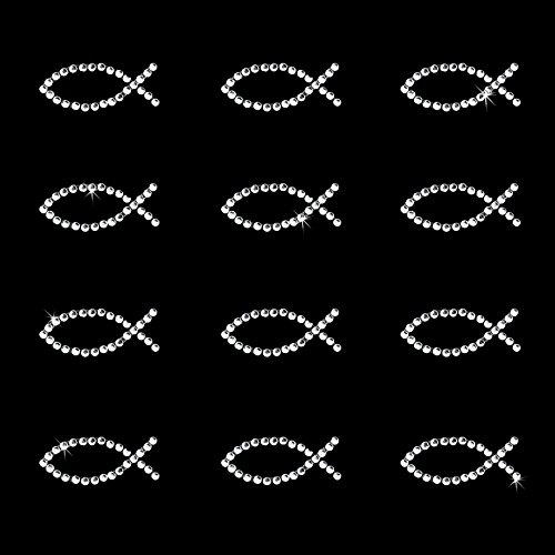 Oblique Unique® 12 Stück Fisch Sticker Strass Steine zum Verzieren oder Aufkleben oder Einkleben von Karten - Kommunion Taufe Deko Tischdeko