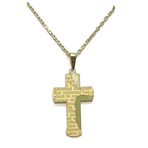 Kreuz und Kette All-Gold gelb 18KTES mit Gebet des Vater unser. 50cm. Besondere Kommunion.