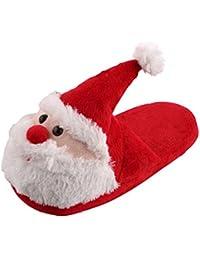 EOZY Pantoufle Enfant Adulte Peluche Père Noël Mule Chausson Slipper Semelle Souple Décor Noël