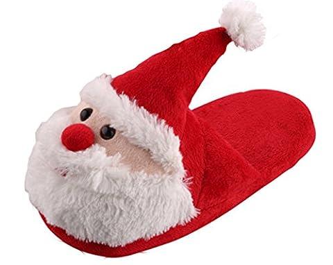 Y-BOA Déguisement Noël Pantoufle Velours Adulte/Enfant Noël Père Chausson Souple Hiver Maison Semelle