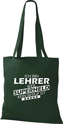shirtstown Borsa di stoffa SONO insegnante, WEIL supereroe NESSUN lavoro è Verde