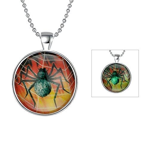 arbe Halskette mit Nachtleuchtend Vergoldet Halloween Halskette Spinne Silber Anhänger Halskette Leuchtend (Schwarze Feder Kranz Halloween)