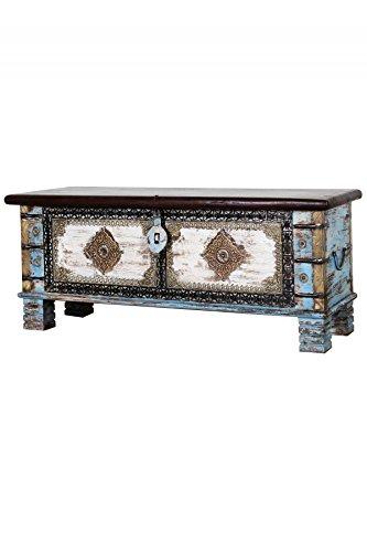 Orientalische Truhe Kiste aus Holz Cemile - 116cm | Vintage Sitzbank mit Aufbewahrung für den Flur...