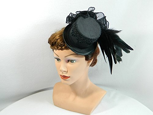 Kostüm Queen Robe (Mini Zylinder schwarz Damenhut Hut Fascinator Cocktail Hütchen)