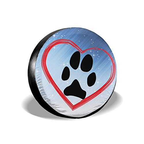 Vbnbvn Reserveradabdeckung Heart Dog Paw Polyester Universal Waterproof Corrosion Protection Wheel Covers for Jeep Trailer RV SUV Truck Camper Travel Trailer Accessories(14,15,16,17 Inch)