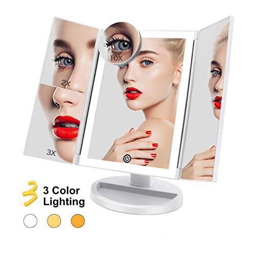 FASCINATE Espejo Maquillaje con Luz 3 Modos Iluminación Colores,36 Leds Tríptica Aumentos 3X, 2X,1x Magnetismo Extraíble Espejo 10X Rotación 180° Espejo de Maquillaje Carga con USB o Batería (Blanco)