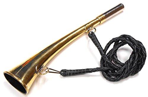 Qualitäts-Jagdhorn, BlashornMit geflochtener Kordel aus echtem Leder, Large