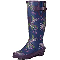 Spylovebuy Adjustable Buckle Flat Festival Wellies Rain Boots Blue Flower Sz 5