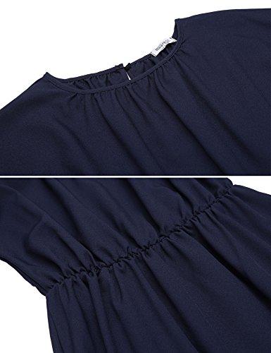 Beyove Damen Elegant Kleid Freizeitkleid Jerseykleid Cockaikleid Partykleider Langarm Knielang A Linie Casual Kleid Blau