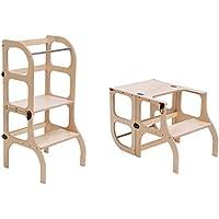 Descapotable Torre de Aprendizaje/Mesa Step'n'Sit, all-in-one, Montessori learning tower - DE MADERA/antique BRASS clasps