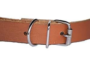 Vache plaine Colliers de cuir pour petits chiens 46cm x 2cm x 3mm véritable chien en cuir