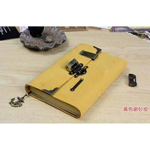 VQEWZ Notizbuch Leder Vintage Antik Leder Journal Handgefertigte Reisetagebuch - Klassische Weiche Leder Gebundenes Notizbuch, Gelb-Verrücktes Pferd, Gefütterte Innenseiten -