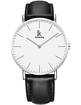 Alienwork IK Quarz Armbanduhr elegant Quarzuhr Uhr modisch Zeitloses Design klassisch Leder silber schwarz 98469L-02