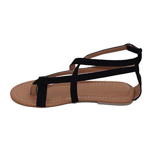 Zebra Peep-toe (OverDose Damen Frauen flache Schuhe Bandage Bohemia Freizeit Peep-Toe Outdoor Wedge Espadrille Rom Binden Sie Sandalen Plattform Sommer Schuhe (34, Black))