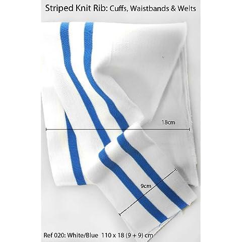 Neotrims Knitted Fabrics,  Bianco 20: White/Blue