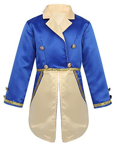 inlzdz Kinder Jungen Prinz Kostüm Langarm Smoking Blazer Mittelalter Edel Frack Jacke Halloween Fasching Karneval Cosplay Kostüm Blau - Kind Mittelalter Prinzen Kostüm