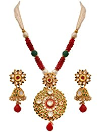 JFL - Traditional Ethnic One Gram Gold Plated Stones & Diamonds Designer Long Necklace Set With Earring For Women...
