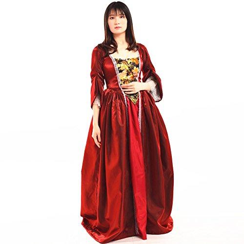 Blessume vintage vittoriano barocco vestito misses coloniale rococò 18 secolo medievale donne costume vestito (m, vino rosso)