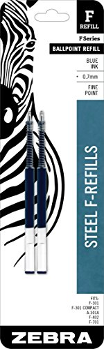 Refill for F-301, F-301 Ultra, F-402, 301A, Spiral Ballpoint, Fine, Blue, 2/Pack, Sold as 1 Package