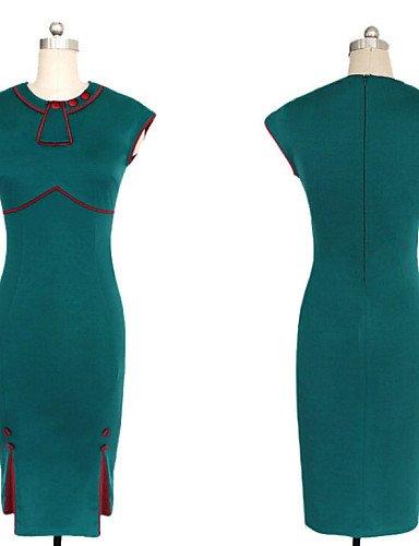 PU&PU Robe Aux femmes Moulante Vintage / Soirée / Travail / Mignon Col Arrondi Mi-long Mélanges de Coton green-2xl