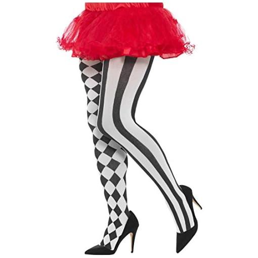Blickdichte-Harlekin-Strumpfhose-Damenstrumpfhose-schwarz-wei-Feinstrumpfhose-Clown-Tights-Schachbrett-gestreift