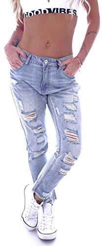 Style-Station Boyfriend Damen Jeans Low Ripped Girlfriend High Waist Hosen zerrissen gerissen Risse Baggy Haremshose Hosen Boyfriendcut Aladin Hellblau XS 34 S 36 M 38 L 40 XL 42 - Ripped Boyfriend Jeans