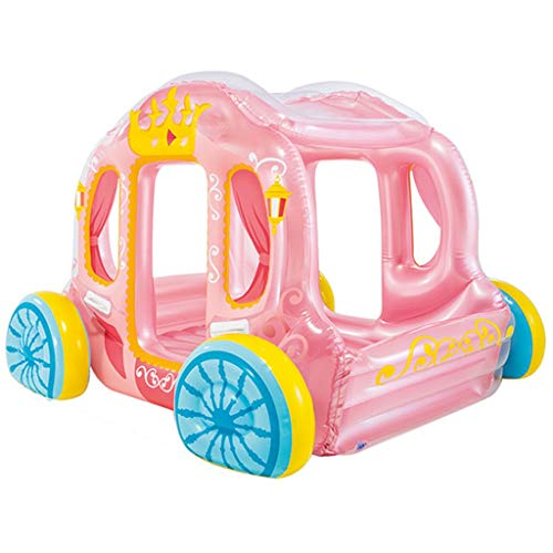 Bouncy Castles Children's Toys Princess Cute Carriage Children's Inflatable Pink Hut Girl Small Household Toys Children's Gifts (Color : Pink, Size : 145 * 135 * 104cm)