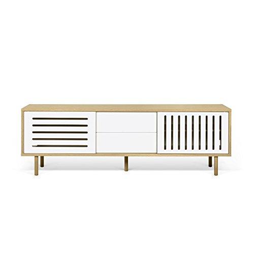Paris Prix - Temahome - Meuble TV Design dann Stripes 201cm Chêne & Blanc
